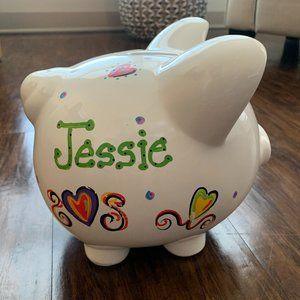 jessie personalized white ceramic piggy bank